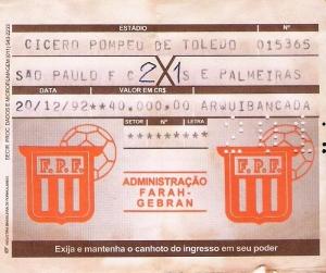 Canhoto de bilhete da final do Paulistão 92