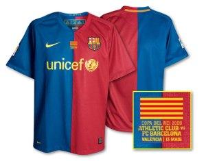 Réplica da camisa usada na final, disponível na loja do Barça