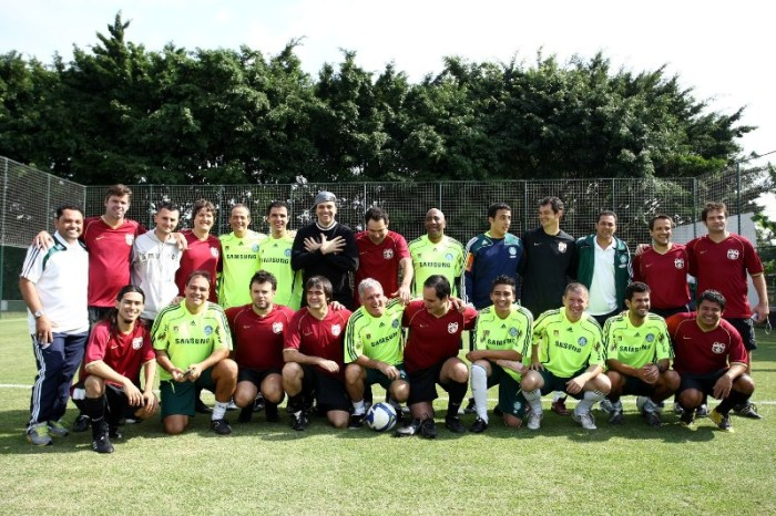Skank 7x5 comissão técnica do Palmeiras. Foto: assessoria de imprensa do Palmeiras