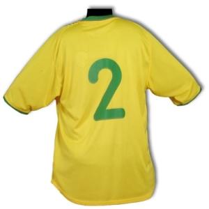 Camisa usada por Cafu nas Eliminatórias da Copa de 2002. Coleção de Paulo Gini.
