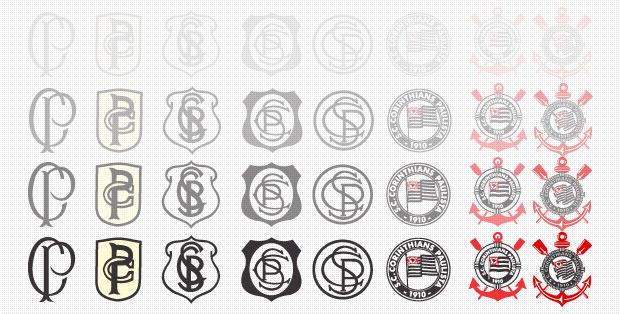 Evolução dos distintivos do Timão. www.corinthians.com.br