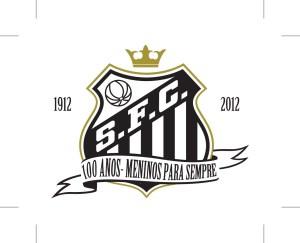 Figurinha em tecido com o logo do centenário do Santos