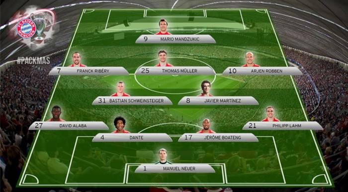 Onze inicial do Bayern em Londres. IMAGEM: http://www.facebook.com/FCBayern