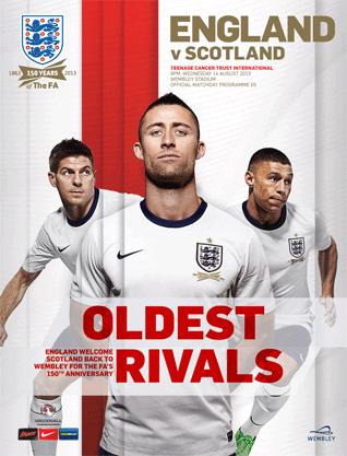 Capa do programa oficial do amistoso 111 entre Inglaterra e Escócia: http://england-programmes.subscribeonline.co.uk/