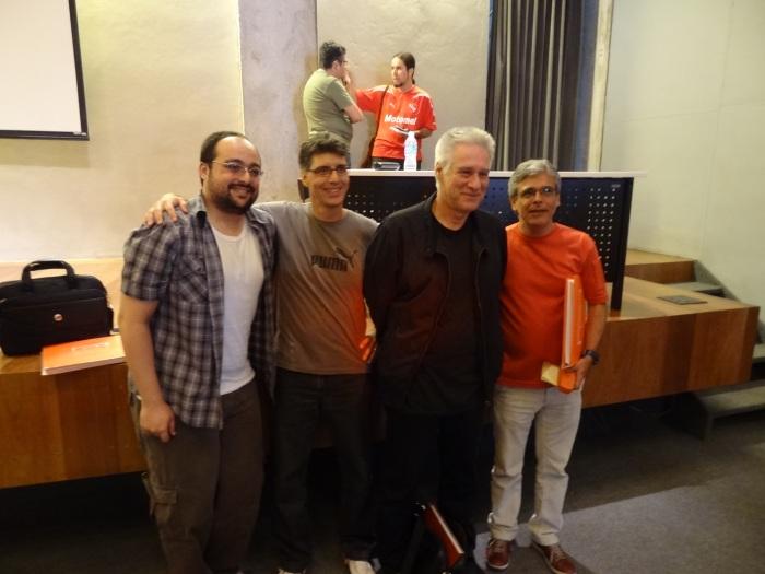 Os palestrantes (oops): o são-paulino Michael Serra, o flamenguista Antonio Carlos Meninéa, o consultor Max Gehringer e o jornalista André Ribeiro, autor da biografia de Leônidas
