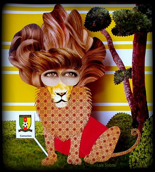 O mascote de Camarões proposto pela artista plástica Lais Sobral.