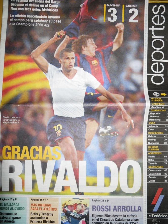 Capa do esporte do jornal catalão EL PERIÓDICO, no dia seguinte de Rivaldo 3x2