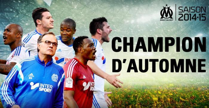 Banner na página do Olympique no Face comemora o 'título' de campeão do outono: https://www.facebook.com/OM
