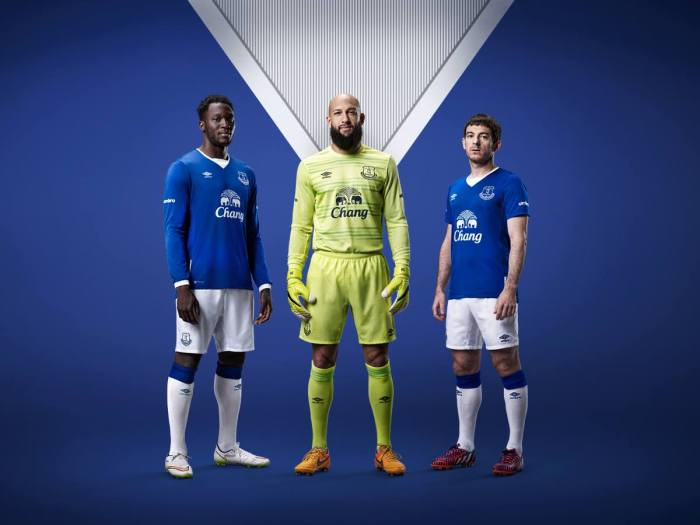 A camisa principal do Everton para 2015-16. Umbro.