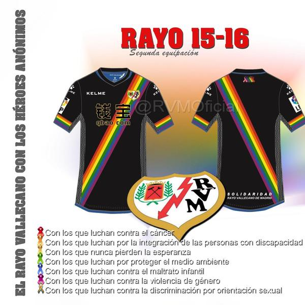 A ousadíssima segunda camiseta do Rayo para a temporada 15-16.