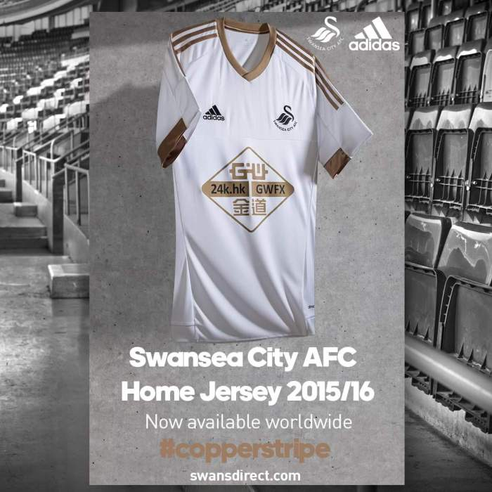 Home kit. Swansea City 2015-16. Adidas.