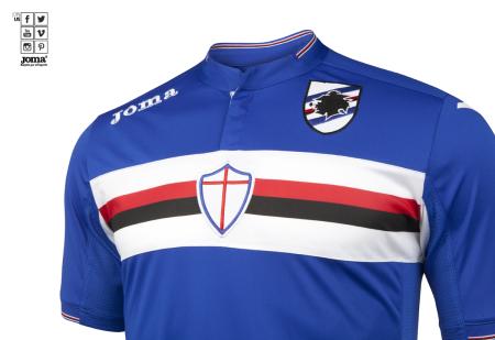 Prima maglia da Sampdoria 15-16, agora feita pela Joma