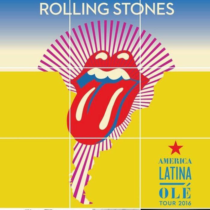 Mosaico com o cartaz da turnê latino-americana. na conta dos Stones no Instagram.