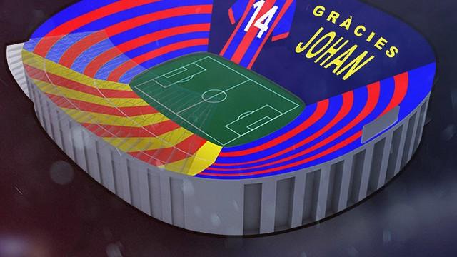 #GraciesJohan: No clássico deste sábado 2 de abril de 2016, o Camp Nou vai ter um mosaico em homenagem a Cruyff, que morreu semana passada.