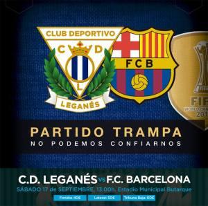 O poster utbano bolado pela agencia Hugin & Munin para promover Leganés x Barça! facebook.com/ClubDeportivoLeganes/