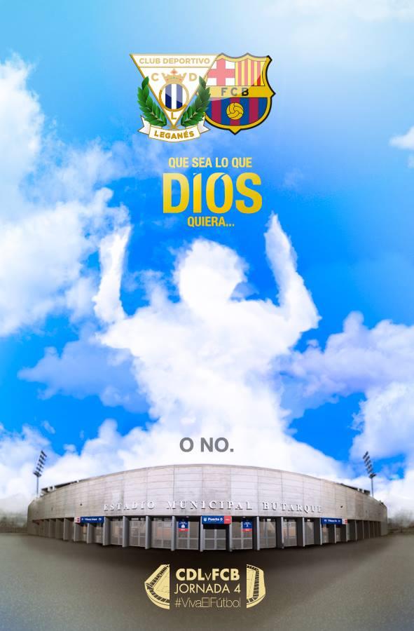 O poster virtual bem bolado pela agencia Hugin&Munin para promover Leganés x Barça! facebook.com/ClubDeportivoLeganes/