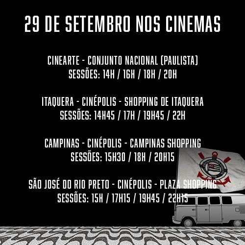 """Cinemas que exibem """"1976 - O Ano da Invasão Corinthiana"""" na semana de estreia, 29/09/2016."""