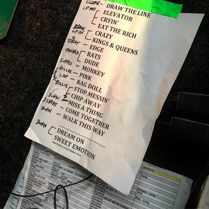 Setlist do show do Aerosmith no Allianz Parque em 15/10/2016: facebook.com/aerosmith/