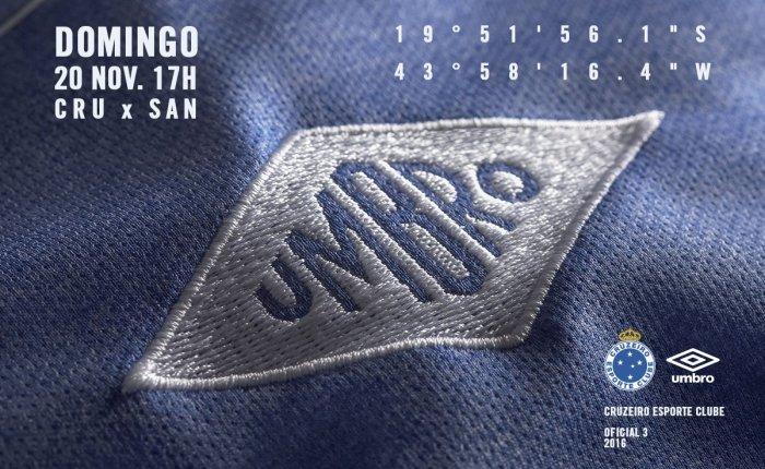 Terceira camisa do Cruzeiro 2016, em homenagem aos campeões de1966.