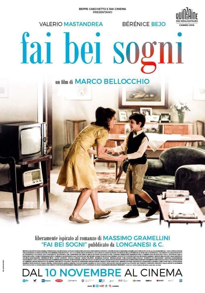 """Poster italiano de """"Belos Sonhos"""". Classificação: 14 anos."""
